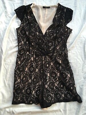 OASIS 10 black Lace Shorts Playsuit Used VGC party Classy Sexy