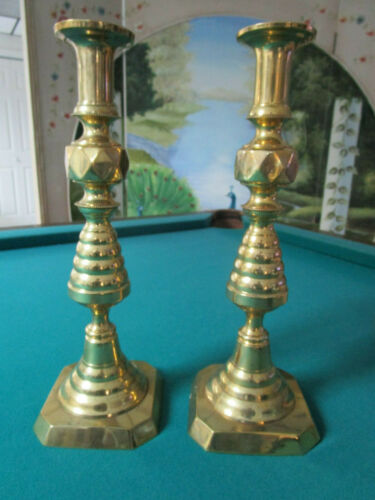 """Antique Bee Hive ENGLAND 14"""" Brass Candle Sticks 1800s Push Up Mechanism PAIR"""