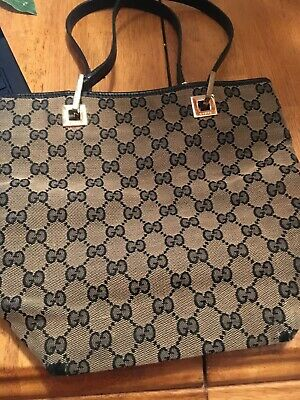 PRICE REDUCEDONCE AGAIN!!!!! GUCCI MONOGRAMED BAG BIEIGE CANVAS BLACK (Price Gucci)