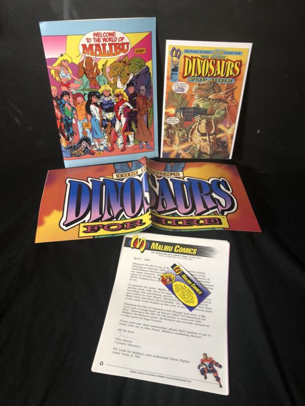 Dinosaurs For Hire Original Press Kit w/First Issue - Malibu Comics 1993