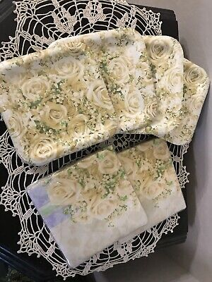 Bridal Blooms Floral Wedding Party Luncheon Napkins And Dessert Plates](Wedding Paper Plates And Napkins)