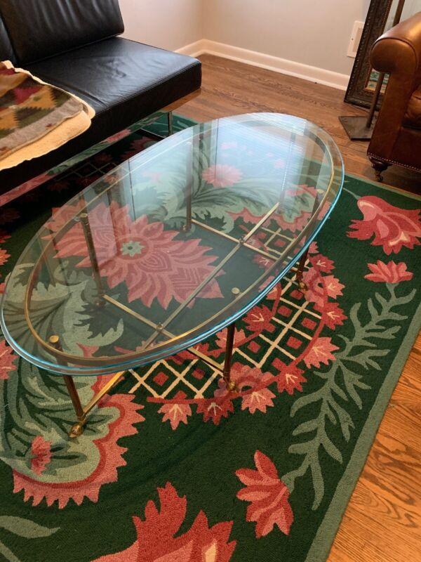 Vintage Mid-Century Labarge Brass Hoof Foot Hollywood Regency Oval Coffee Table