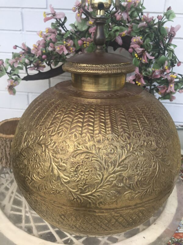 Vintage Round Embossed Floral Motiff Table Lamp Farmhouse Style Boho Chic Large