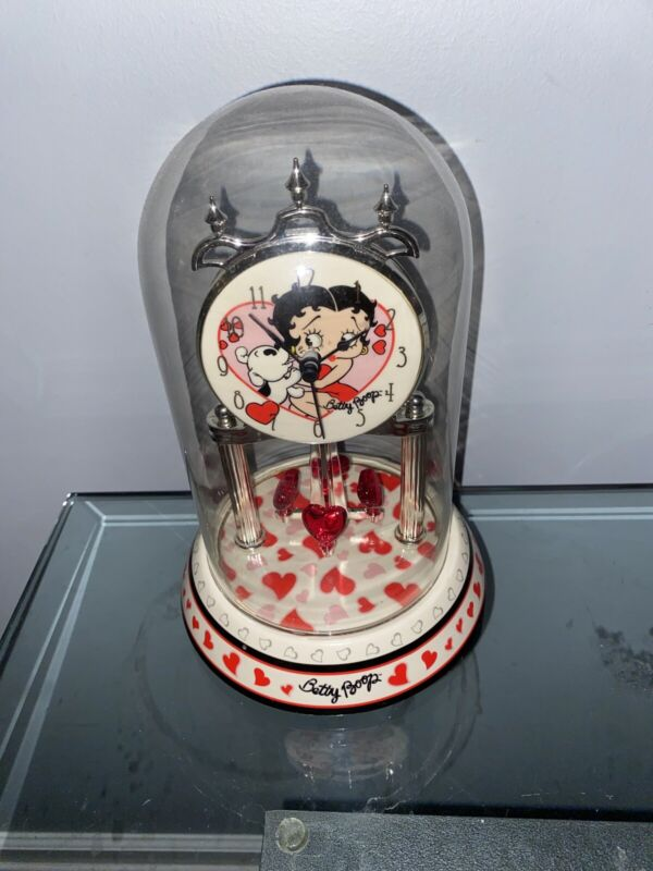 BETTY BOOP PORCELAIN ANNIVERSARY GLOBE GLASS COLLECTIBLE CLOCK Works Great