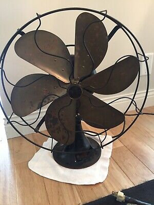 "Vintage Antique Emerson 6 Brass Blade Fan 16"" Model 73668 Works - Rare"
