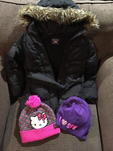 Winter jacket size 7/8 and hats