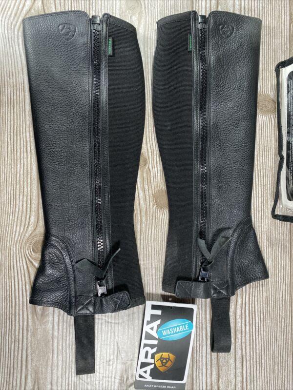 Ariat Breeze Half Chaps Size Small EUC Leather Black Riding Chaps