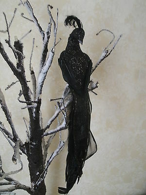 """Clip On Artificial feather bird Peacock BLACK Decor Wedding Anniversary 10"""""""