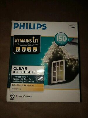 Phillips 150 ct. Icicle String Lights Outdoor Lights, Lighted Length 9.6ft