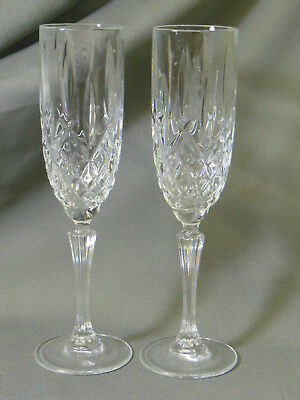 2 Waterford Crystal Stemware Marquis Champagne Flutes Glasses 9 3/4 inches tall - Marquis Stemware Flute