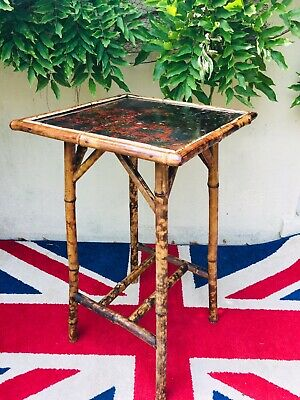 Vintage Oriental Bamboo Table With A Hand Painted Top