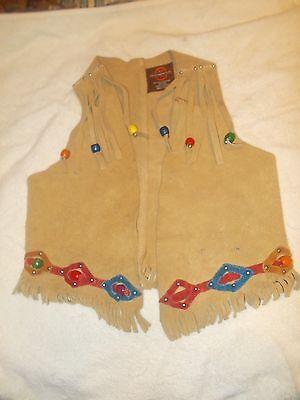 Vintage Child Leather Cowboy Vest Fringed Med Craighead Denver Halloween Costume](Halloween Denver Costumes)