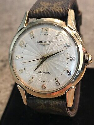 RARE!! Vintage Men's Longines Automatic GF Textured Web Dial Watch Running