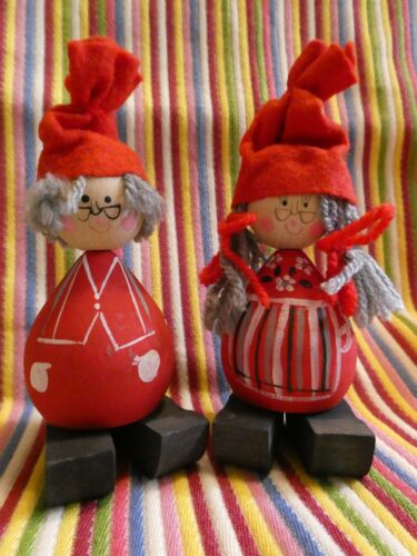 Vintage Swedish Wooden Tomte Nisse Couple Silver Hair, Pot-Belly, Glasses, Clogs