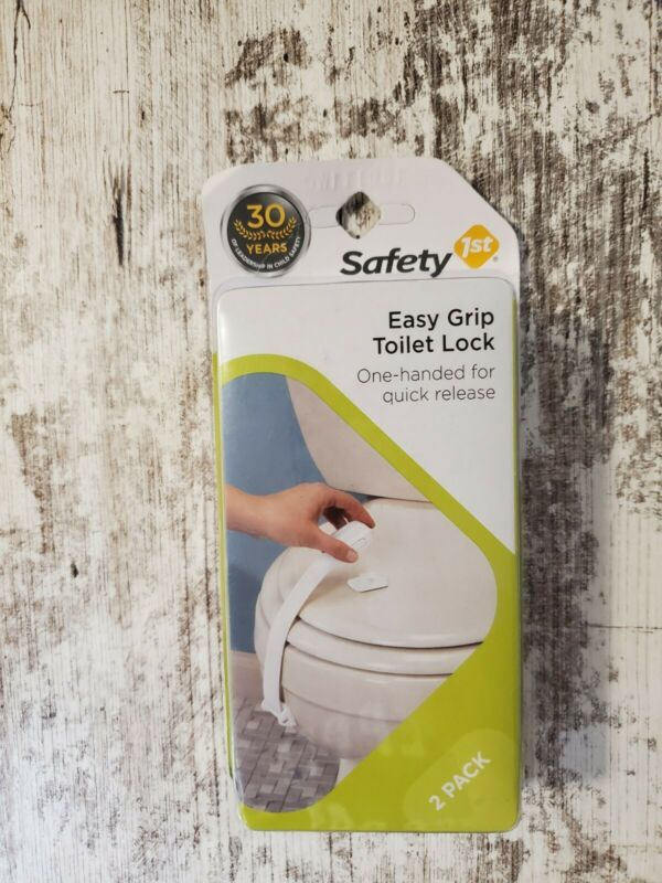 Safety 1st 2 Pack Easy Grip Toilet Locks One-Handed for Quick Release White New