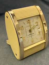 VINTAGE WESTCLOX ROLL TOP TRAVEL ALARM CLOCK WIND-UP Model 42014  ART DECO