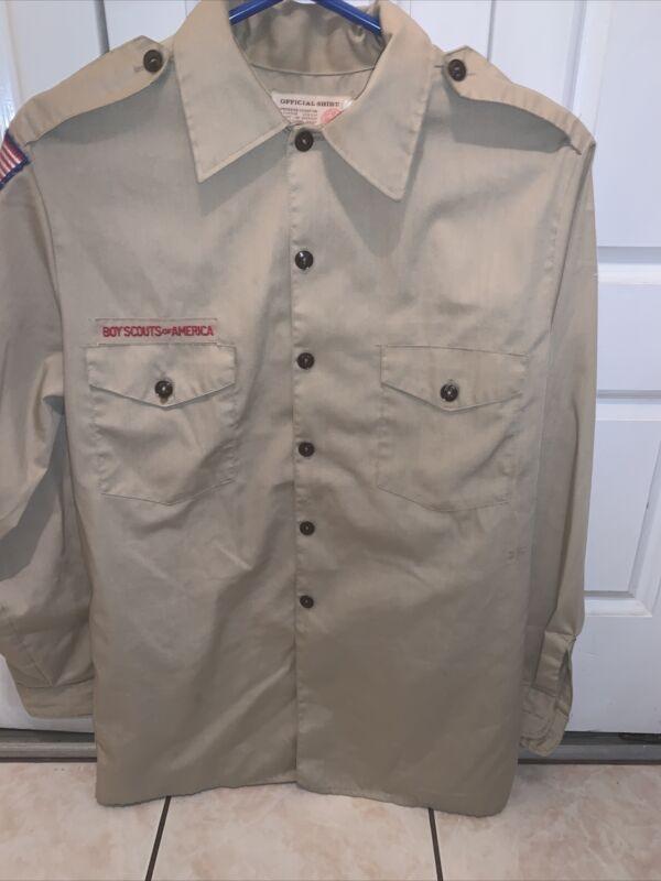 Boy Scout BSA UNIFORM SHIRT  Men's  Medium Long Sleeve Tan L47