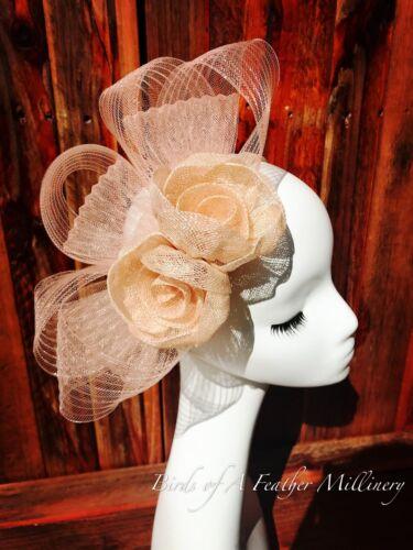 NUDE COLOUR #43 CLEARANCE Flower Fascinator Melbourne Cup Wedding Spring Race