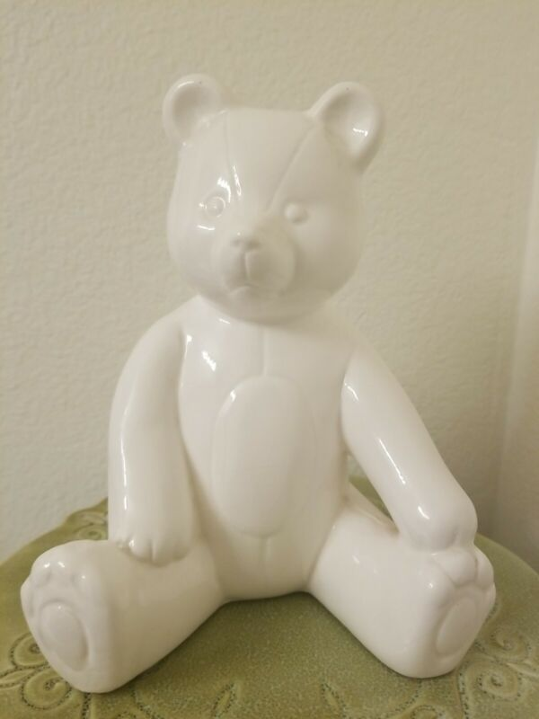 """Vintage Teddy Bear Bank With Stopper White Ceramic 8"""" Tall"""