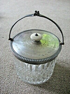 ANTIQUE / VINTAGE CRYSTAL GLASS ICE BUCKET WHITE METAL LID CERAMIC FINIAL - CHIC