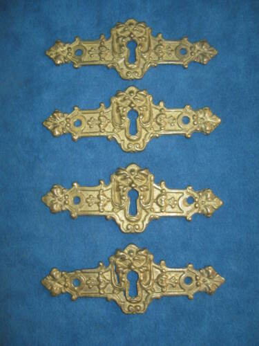 """4- Vintage Ornate Cast Solid Brass Figural 4.5"""" KEYHOLE COVER PLATES..Never Used"""