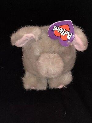 "Puffkins Elly Elephant Plush 4"" Stuffed Animal Swibco Gray With Tag"