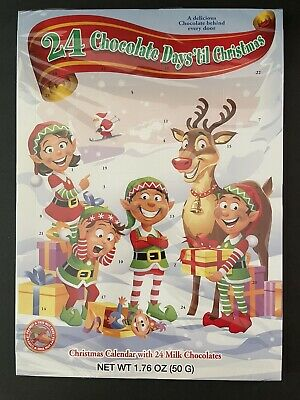 24 Chocolate Days Til Christmas Advent Elves Countdown Calendar New