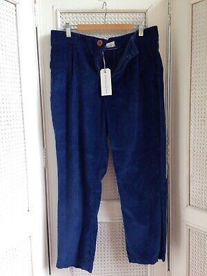 KING & TUCKFIELD London, Blue Cotton Needle Cord, Crop Peg Pleat 80s Style NEW M