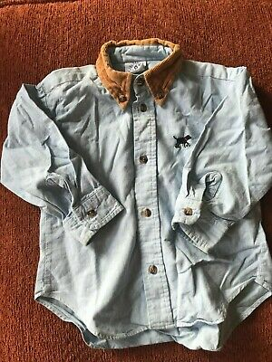 Boys American KiteStrings blue cotton shirt with dog motif, corduroy collar, 3 y for sale  Shipping to Nigeria