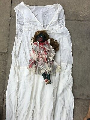 Halloween Scary Victorian Doll And Long White Gown Size - Scary Doll Halloween Kostüm