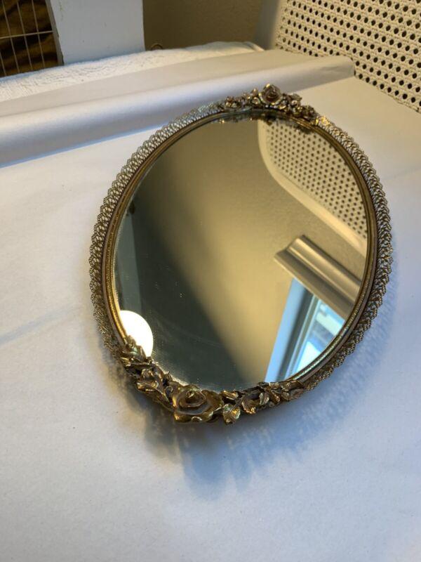 VTG Matson Gold Gilt Vanity Dresser Oval Mirror Roses Ormolu Tray or Mirror #7H