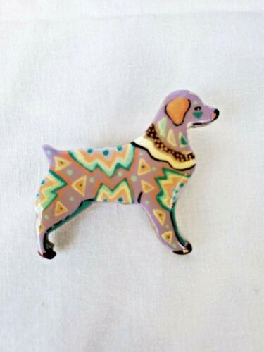 BRITTANY SPANIEL PORCELENEX MOSAIC DOG PIN BY ARTIST CINDY ANTHONY