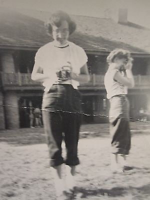 VINTAGE AMERICAN FEMALE PHOTOGRAPHERS THREE SNAPSHOTS CAMERAS FUN ARTISTIC PHOTO