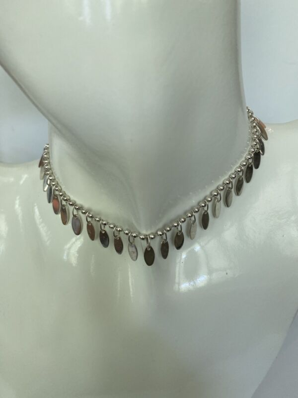 """Solid Sterling Silver Beaded Dangle Anklet, 10"""" Long, 0721"""