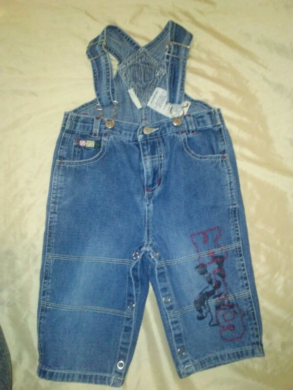 Vintage Faded Glory Baby Overalls Bibs 6-9 Months