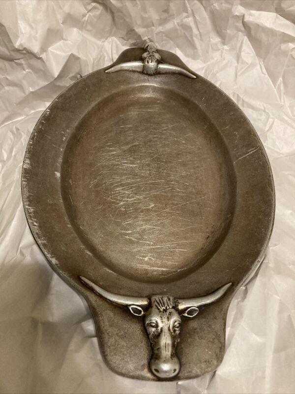 Bruce Fox  Steer Head Aluminum Tray Vintage MCM Old Pre Wilton Trophy Heavy
