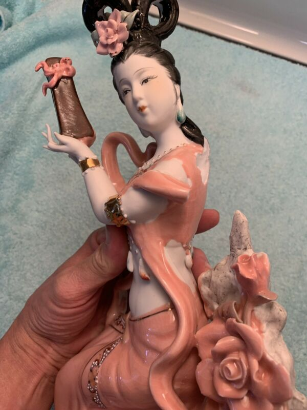 "VINTAGE ORIENTAL PORCELAIN GEISHA FIGURINE, 14"" TALL, MADE IN CHINA"