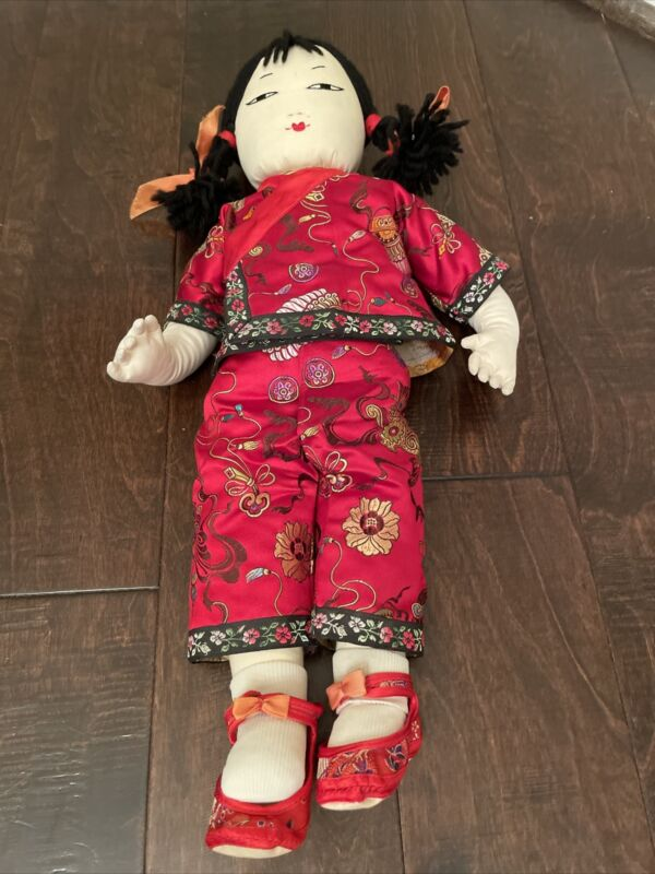 Vintage Ada Lum Asian Chinese Cloth Doll 19 in