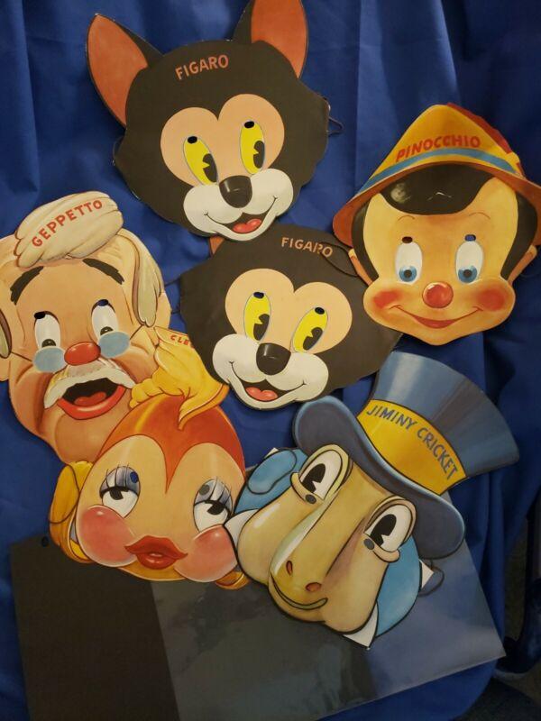 Vtg 1939 Pinocchio Paper Masks Disney Gillette Razor Blade Premium Set Envelope