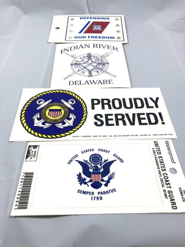 4 US Coast Guard Stickers / Decals Unused Age Unknown 1 Confirmed 97 Vintage
