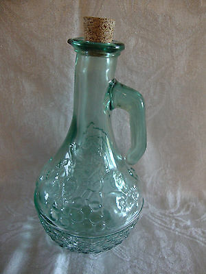 CANADA SAGE GREEN OIL / VINEGAR CRUET WITH EMBOSSED FRUIT BASKER DESIGN