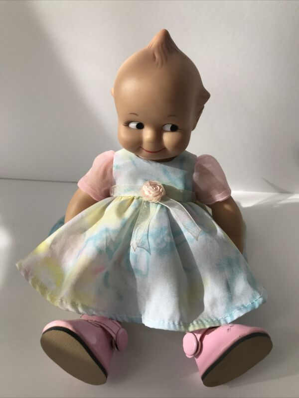 """VINTAGE Cameo Collectables Kewpie Doll Pink Blue Dress 7.5"""""""