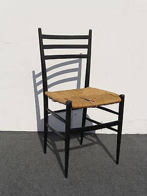 Vintage Ladder Back Black Rush Accent Chair