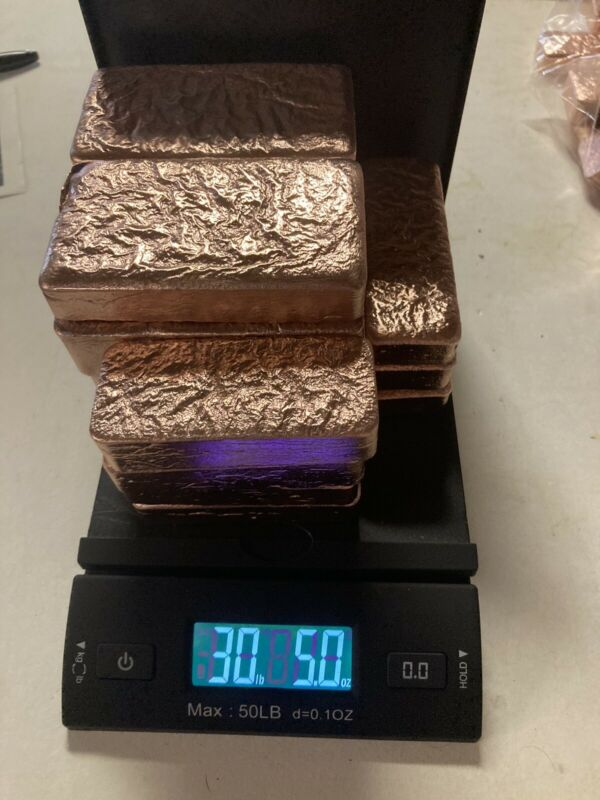 Copper, 30+Lbs Copper Ingots Hand Poured