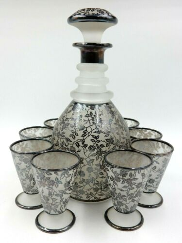 ANTIQUE ROCKWELL FLORAL PATTERN STERLING SILVER OVERLAY DECANTER AND 8 GLASSES