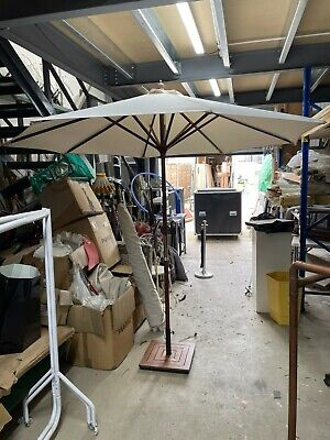 2.7 M Wood Wooden Parasol Garden Table Sun Shade Cream White with heavy base