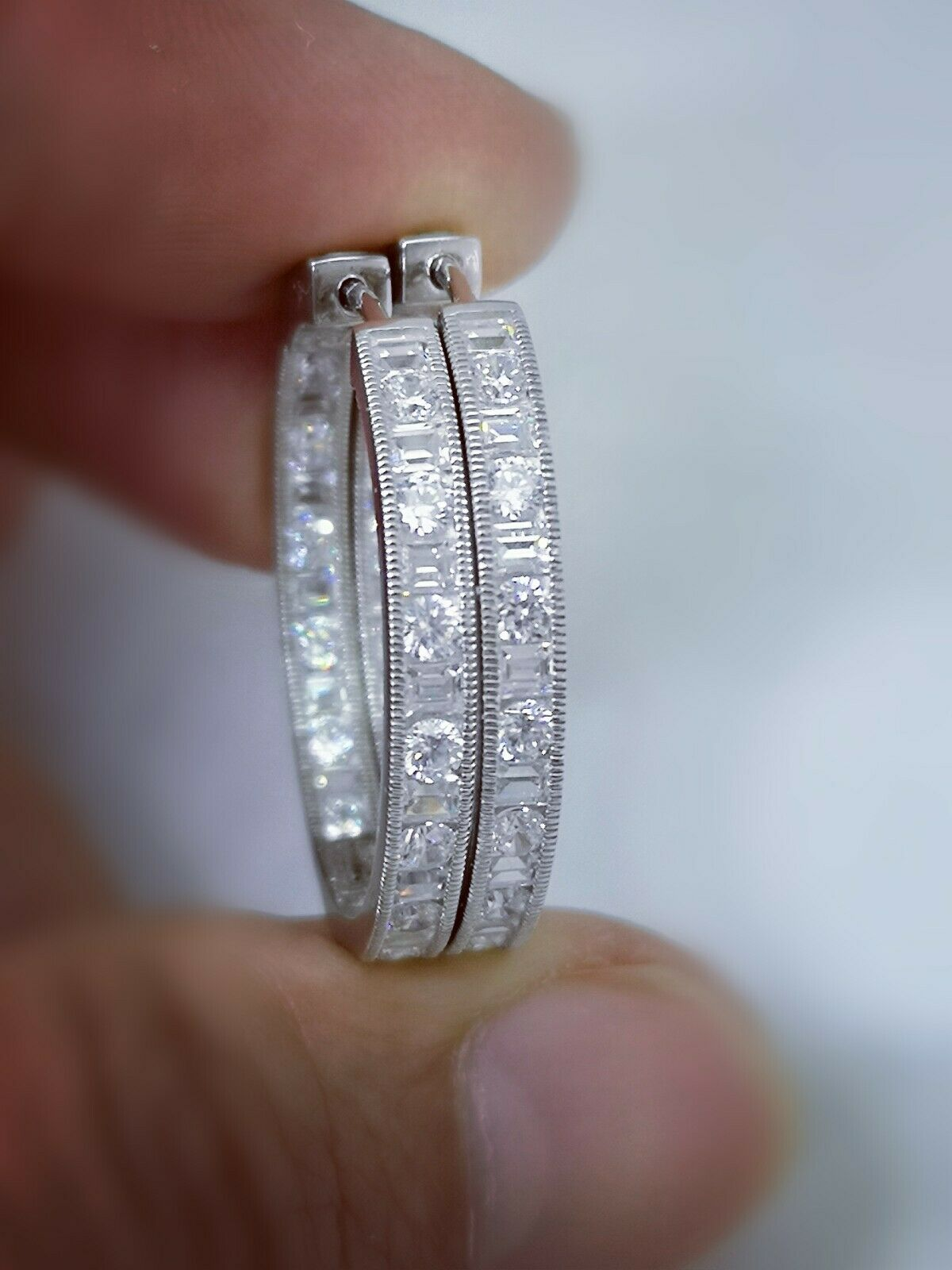 3Ct Diamond Hoop Earrings Womens Diamond Earring 14K White Gold Over Baguettes