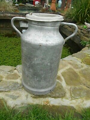 Vintage French aluminium milk churn  stamed EV