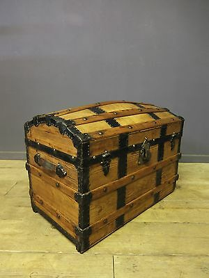 Victorian Domed Travel Trunk, Chest, Antique, Vintage