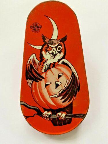 Vintage Halloween Noisemaker Tin Litho US Metal Toy Mfg Pumpkin & Owl Works Well